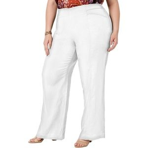 NWT Macys White Linen Wide Leg Dress Pants